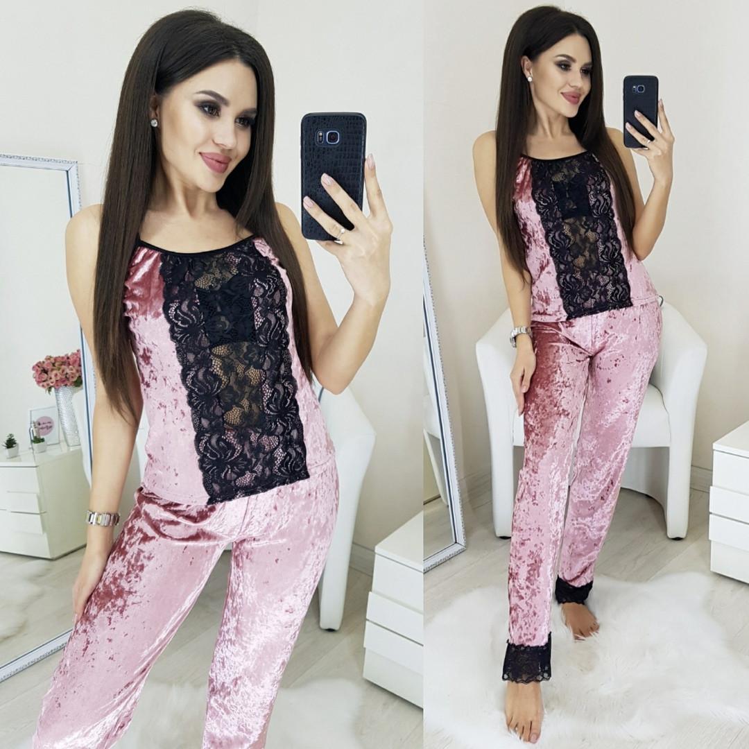 Пижама женская бархатная майка плюс брюки