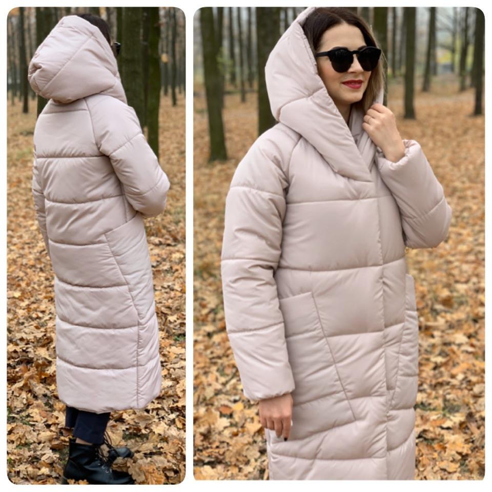 Пальто курка кокон Oversize зимова, артикул 500, перловий колір