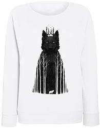 Женский свитшот Tumblr Wolf (forest) (белый)