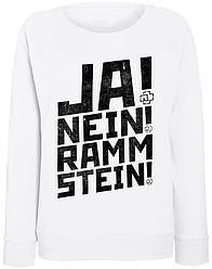 Женский свитшот Rammstein - Ja! Nein! Rammstein! (белый)