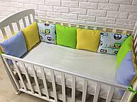 Защита в кроватку, бортики подушки «Разноцветные Совы»