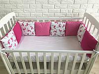 Защита в кроватку, бортики подушки «Розовый Фламинго»