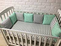 Защита в кроватку, бортики подушки «Мятная свежесть»