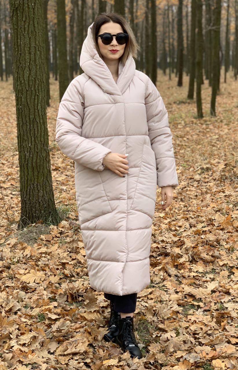 Пальто курка  кокон Oversize зимняя, артикул 500, цвет дымчатый беж