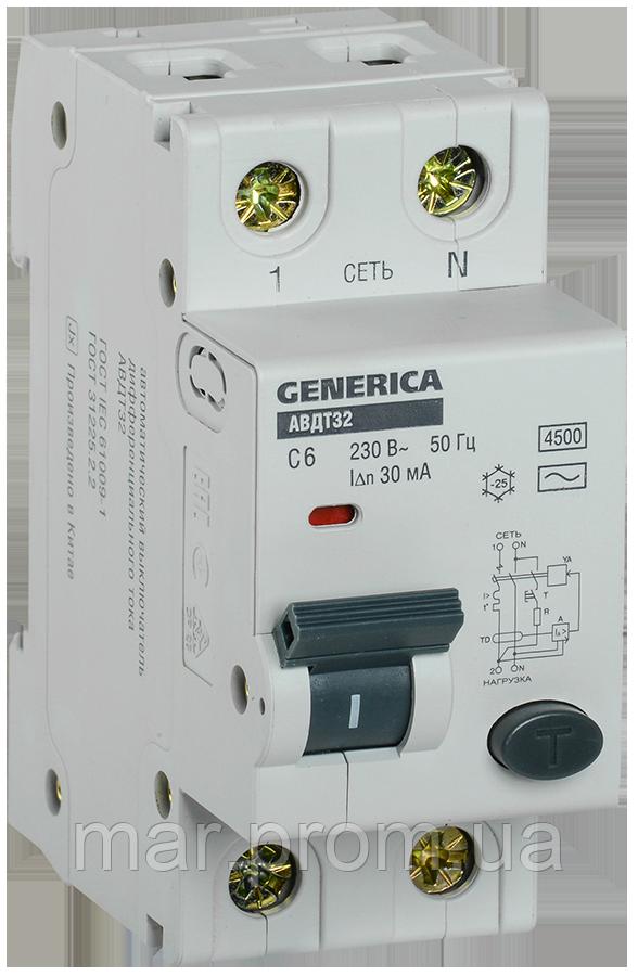 Автоматический выключатель дифференциального тока АВДТ32 C6