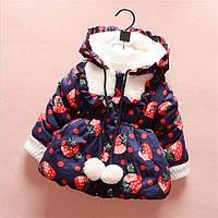 Куртка яркая для девочки с клубничками, фото 1