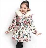 Куртка яркая для девочки с цветами, фото 1