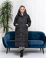 Пальто курка  кокон Oversize зимняя, артикул 500, цвет матовый черный, большие размеры