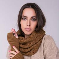 Снуд хомут коричневый, вязаный, шарф женский, шерсть