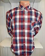 Рубашка мужская с длинным рукавом клетка батал