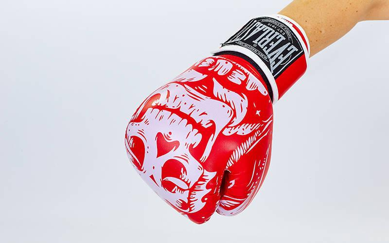 Перчатки боксерские FLEX на липучке EVERLAST SKULL BO-5493 (8 унции, Красный)