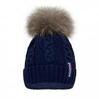 Детская шапочка с натуральным помпоном синяя