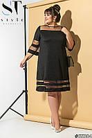 Нарядное платье для полной женщины Трикотаж  с напылением и вставками сетки Размер 46 48 50 52 54 56 58 60, фото 1