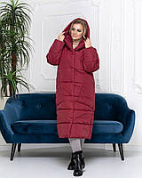Пальто курка  кокон Oversize зимняя, артикул 500, цвет бордо