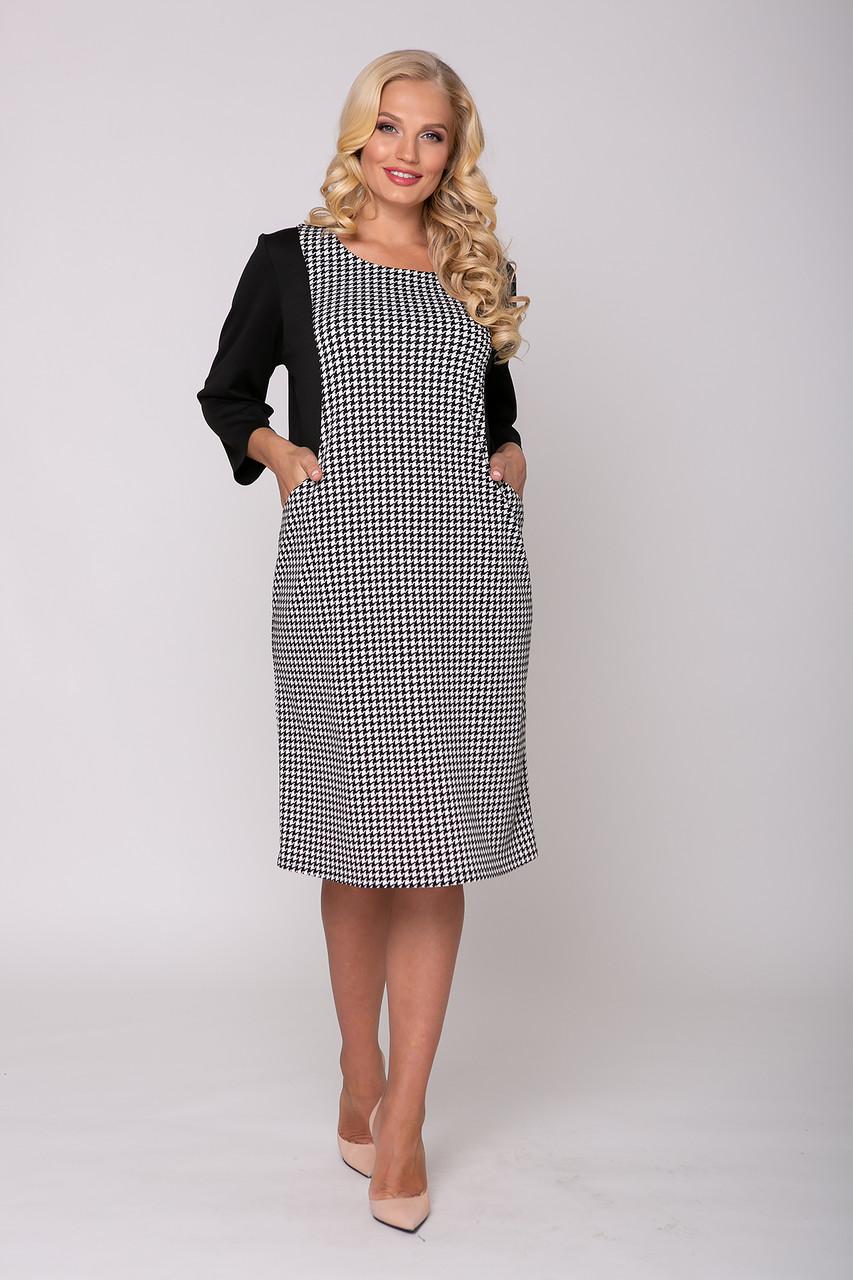 Стильное платье больших размеров принт гусиная лапка