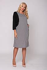 Стильне плаття великих розмірів принт гусяча лапка, фото 2