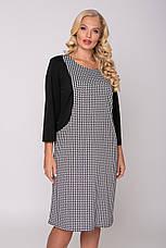 Стильне плаття великих розмірів принт гусяча лапка, фото 3