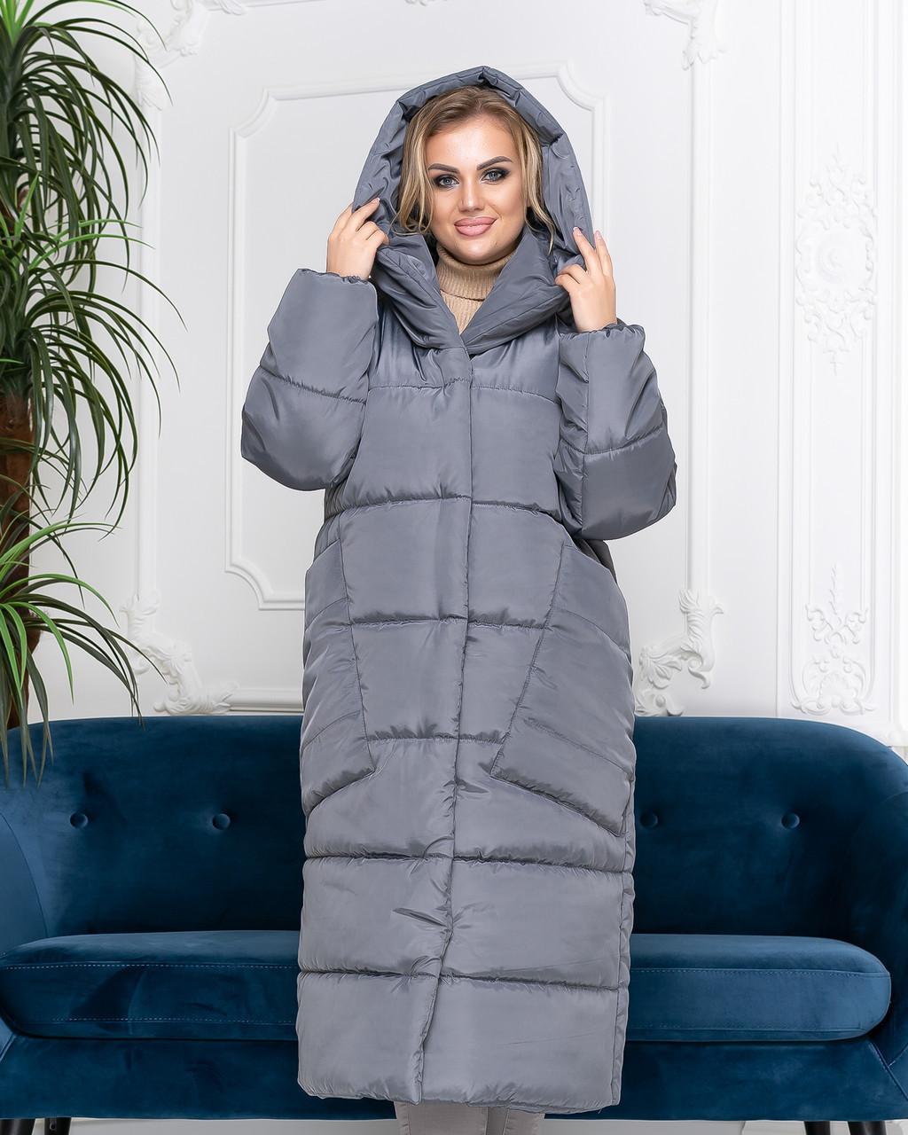 Пальто курка кокон Oversize зимова, артикул 500, колір сірий маренго