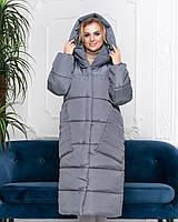 Пальто курка кокон Oversize зимова, артикул 500, колір сірий маренго, фото 1