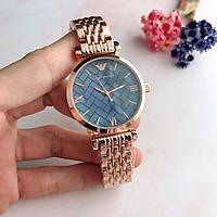 Мужские\ Женские наручные часы в стиле Emporio Armani золото с синим\TOP качество\