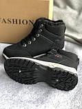 Черные зимние спортивные ботинки, кроссовки с мехом, фото 2