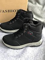 Черные зимние спортивные ботинки, кроссовки с мехом, фото 1
