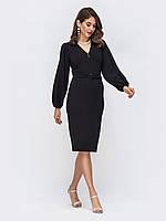 Вечернее платье -футляр черное большой размер ниже колена 44 46 48 50 52 54
