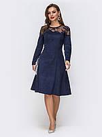 Вечернее платье  синее замшевое большой размер по колено  52 56