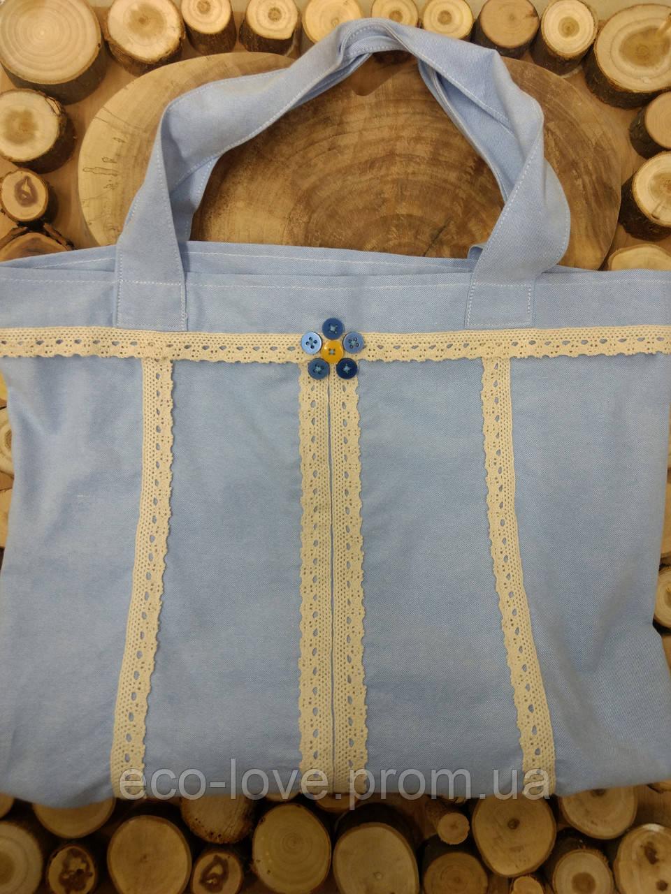 Еко-сумка. Сумка для покупок, шоппер, авоська, торба. Сумка блакитна. Тканинна сумка.