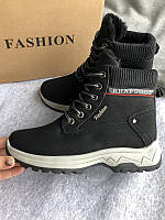 Зимние ботинки с мехом искусственным черные, фото 1