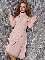 Вечернее  платье розовый гипюровое с расклешенной юбкой  42 44 46 48