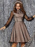 Вечернее  платье серый гипюровое с расклешенной юбкой  42 44 46 48