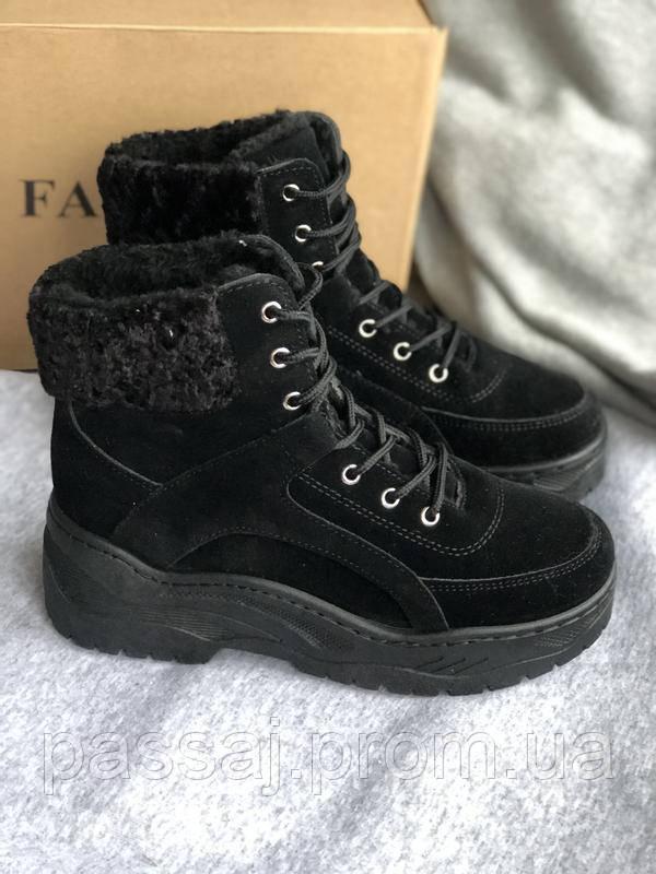 Черные ботинки с тонким мехом