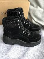 Черные ботинки с тонким мехом, фото 1