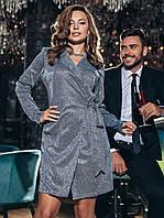 Вечернее платье-пиджак серебро мерцающее на запах 44 46 48