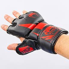 Перчатки для смешанных единоборств MMA PU VENUM BO-8355 (XL, Черный-красный), фото 2