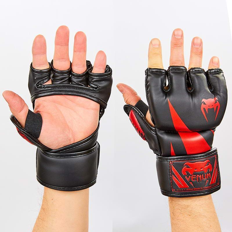 Перчатки для смешанных единоборств MMA PU VENUM BO-8355 (XL, Черный-красный)