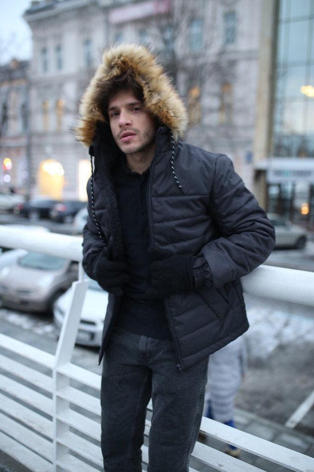 Куртка мужская зимняя Jacket winter Alaska теплая с капюшоном на меху, пуховик мужской зимний цвет черный