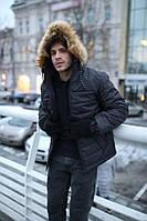 Куртка мужская зимняя Jacket winter Alaska теплая с капюшоном на меху, пуховик мужской зимний цвет черный, фото 1