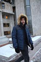 Куртка мужская зимняя Jacket winter Alaska теплая с капюшоном на меху, пуховик мужской зимний цвет синий