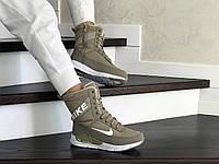 Женские зимние сапоги на меху Nike, кожа, термоплащевка, пена, оливковые.
