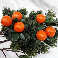 """Новогоднее украшение """"Ветка апельсин тройка"""""""