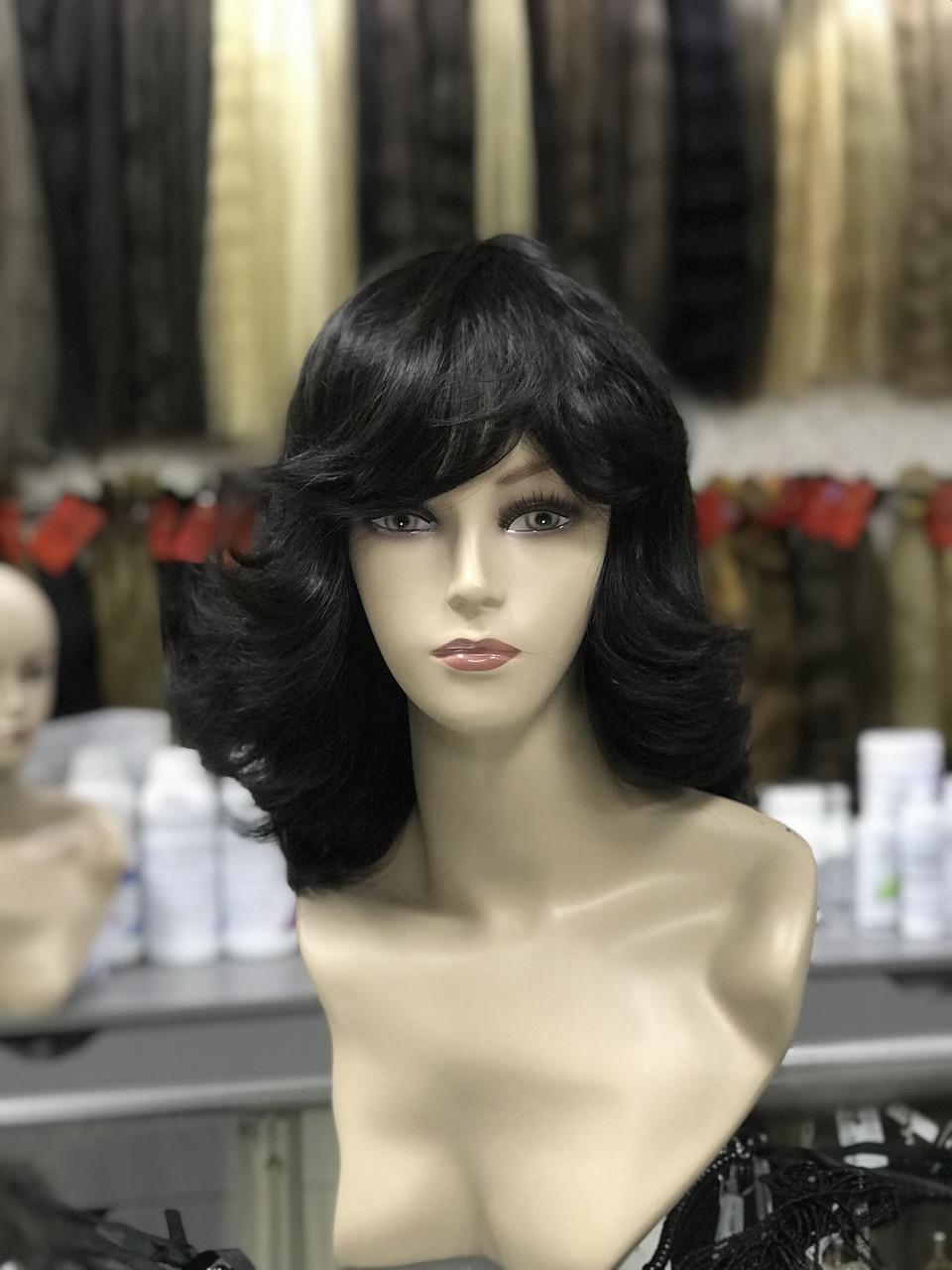 Парик из натуральных волос каскад темный