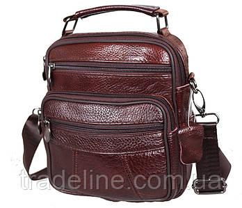 Мужская кожаная сумка Dovhani BonA101-1Coffee787 Коричневая 21 х 18 х 9 см