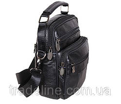 Мужская кожаная сумка Dovhani Bon101-2Black7891 Черная 21 х 18 х 9 см, фото 2