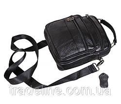 Мужская кожаная сумка Dovhani Bon101-2Black7891 Черная 21 х 18 х 9 см, фото 3