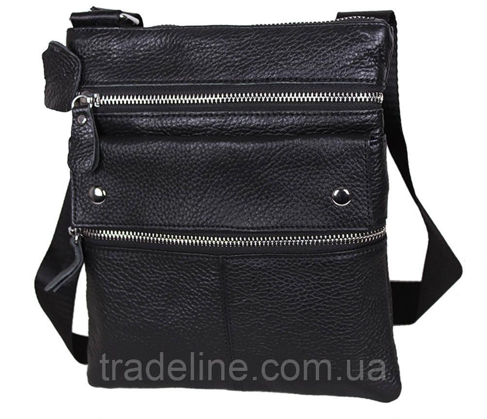 Мужская кожаная сумка Dovhani 302BL827 Черная