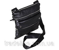 Мужская кожаная сумка Dovhani 302BL827 Черная, фото 3