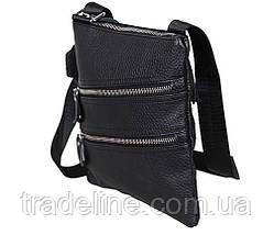 Мужская кожаная сумка Dovhani 304BL827 Черная, фото 2
