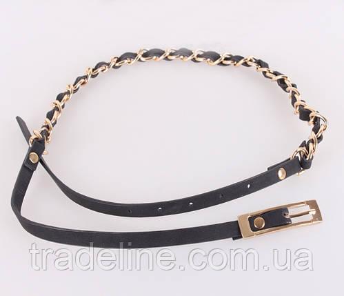 Женский узкий ремень Dovhani UZZ0033-7843 115 см Черный, фото 2